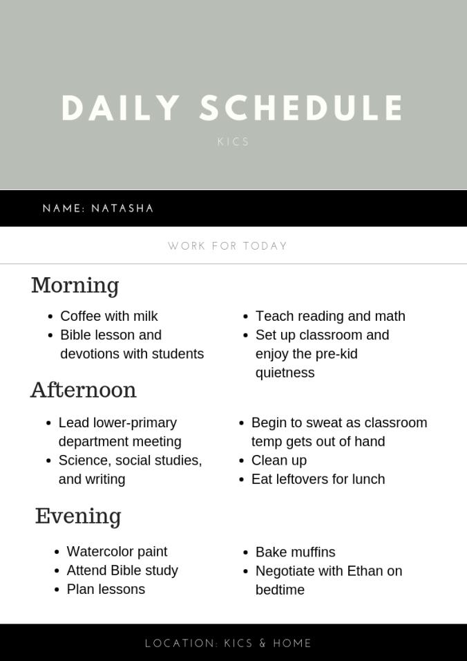 Natasha's Schedule